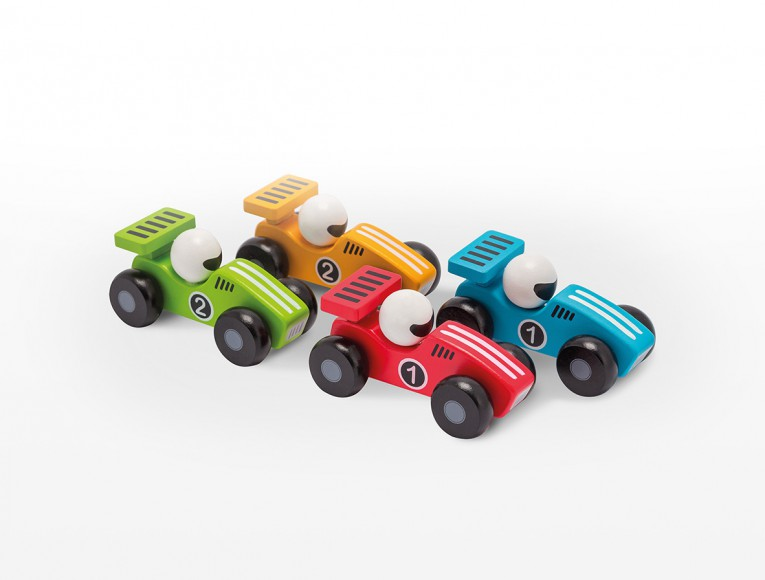 Wooden cars 12.5cm in display 4 assorted