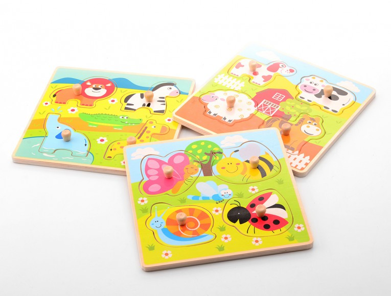 Animal knobpuzzle 3 assorted